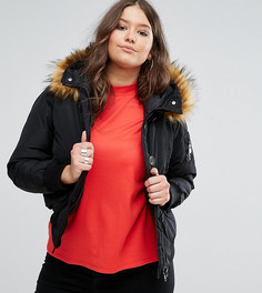 Куртка с меховой отделкой на капюшоне Koko Plus - Черный