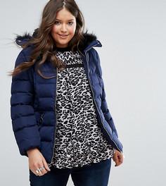Дутая куртка с воротником из искусственного меха Koko Plus - Темно-синий