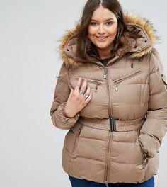 Дутая куртка с воротником из искусственного меха Koko Plus - Бежевый