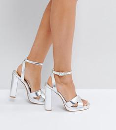 Серебристые босоножки на каблуке и платформе Office - Серебряный