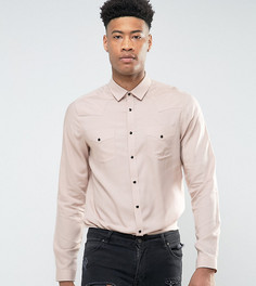 Розовая вискозная рубашка классического кроя ASOS TALL - Розовый