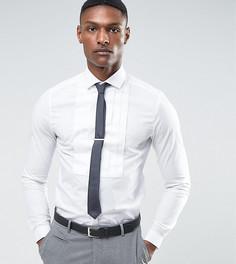 Зауженная рубашка с плиссированной вставкой ASOS TALL Wedding - Белый
