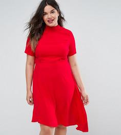 Чайное платье с оборкой на спине ASOS CURVE - Розовый