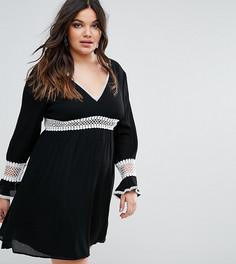 Короткое приталенное платье с кружевными вставками Missguided Plus - Черный