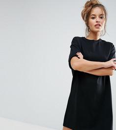Платье-футболка с отворотами на рукавах ASOS PETITE Ultimate - Черный