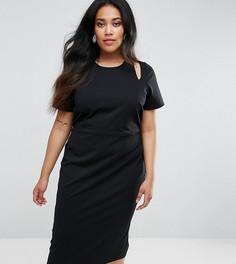 Платье-футляр миди с вырезами на плечах ASOS CURVE - Черный