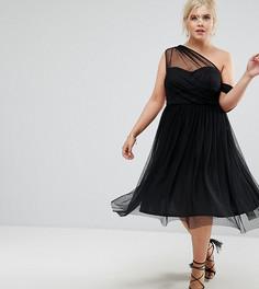 Платье для выпускного на одно плечо из сетки добби ASOS CURVE - Черный