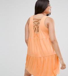 Свободный сарафан со шнуровкой на спине ASOS CURVE - Оранжевый