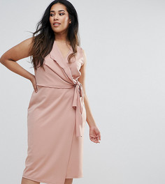 Платье-футляр миди с запахом и поясом ASOS CURVE - Розовый