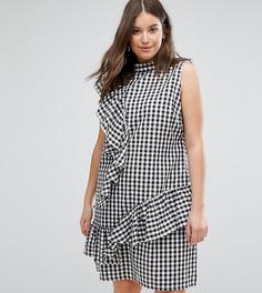 Платье в клеточку с оборками ASOS CURVE - Мульти