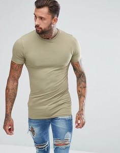 Длинная обтягивающая футболка зеленого цвета ASOS - Бежевый