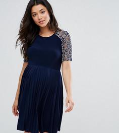 Платье мини для беременных с плиссировкой и кружевом ASOS Maternity - Темно-синий