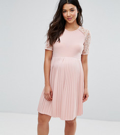 Платье мини с плиссировкой и кружевом ASOS Maternity PETITE - Розовый