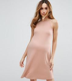Платье-трапеция мини в рубчик ASOS Maternity TALL - Розовый