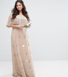 Платье макси с широкими рукавами Maya Plus - Розовый