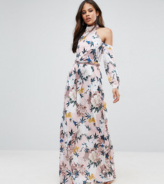 Платье макси с вырезами на плечах, складками на талии и цветочным принтом TTYA BLACK - Розовый Taller Than Your Average