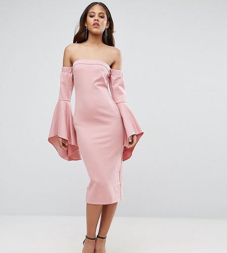 Платье миди с открытыми плечами и рукавами клеш TTYA BLACK - Розовый