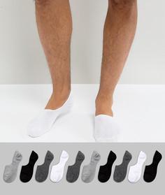 10 пар черно-белых низких носков ASOS - Мульти
