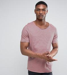 Длинная трикотажная футболка в полоску ASOS TALL - Розовый