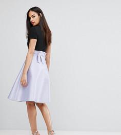 Атласная юбка на выпускной с бантом сзади Vesper Bonded - Фиолетовый