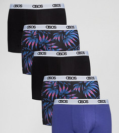Набор из 5 пар боксеров-брифов (с цветочным принтом/ логотипом на поясе) ASOS - СКИДКА - Мульти