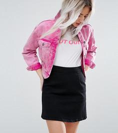 Розовая выбеленная джинсовая куртка ASOS PETITE - Розовый