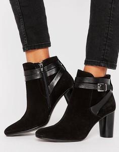 Кожаные ботинки на каблуке с ремешками H by Hudson - Черный