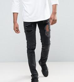 Черные рваные джинсы скинни с байкерскими молниями ASOS TALL - Черный
