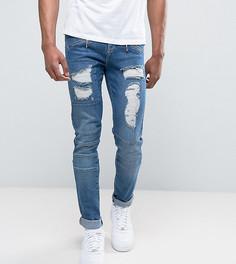 Зауженные джинсы в байкерском стиле с рваной отделкой ASOS TALL - Синий