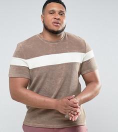 Махровая футболка с контрастной вставкой ASOS PLUS - Бежевый