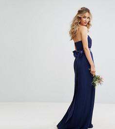 Платье макси с лифом-бандо и бантом на спине TFNC WEDDING - Темно-синий