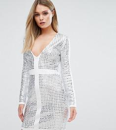 Платье мини с отделкой заклепками и V-образным вырезом Starlet - Белый