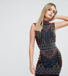 Платье мини с высоким воротом и сплошной декоративной отделкой Starlet - Мульти
