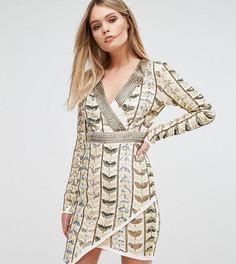Платье мини с глубоким вырезом, запахом и сплошной декоративной отделкой Starlet - Золотой