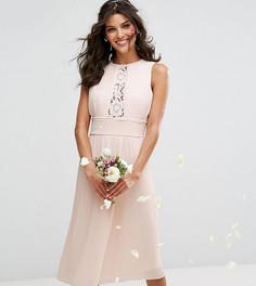 Плиссированное платье миди с кружевными вставками TFNC WEDDING - Розовый