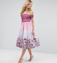 Платье для выпускного миди с цветочным принтом ASOS TALL SALON - Розовый