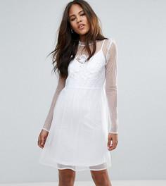 Свободное сетчатое платье в горошек с вышивкой ASOS TALL - Белый