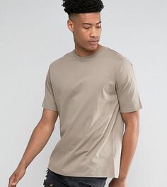 Длинная свободная футболка с укороченными рукавами ASOS TALL - Коричневый