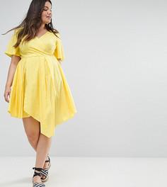 Платье мини с запахом ASOS CURVE - Желтый