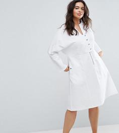 Платье миди на кнопках ASOS CURVE - Белый