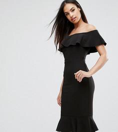 Платье-футляр с открытыми плечами, оборками и кружевом Vesper - Черный