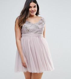 Приталенное платье со свободной юбкой и отделкой пайетками Little Mistress Plus - Серебряный