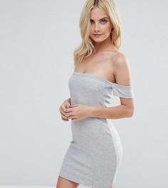 Облегающее платье мини со спущенными плечами ASOS PETITE - Серый