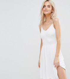 Приталенное платье мини на тонких бретельках ASOS PETITE - Белый