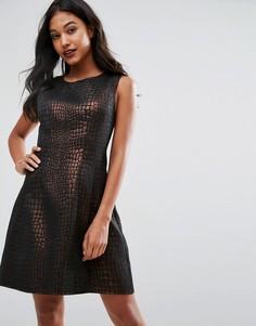 Короткое приталенное платье металлик AX Paris - Золотой