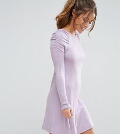 Короткое приталенное платье в рубчик в стиле 80-х ASOS PETITE - Фиолетовый