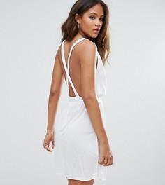 Трикотажное пляжное платье мини с перекрестными бретелями на спине ASOS TALL - Белый