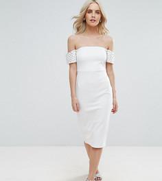 Облегающее платье миди с отделкой на манжетах ASOS PETITE - Белый