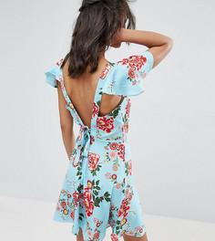 Чайное платье с цветочным принтом, рукавами клеш и завязкой на спине Influence Tall - Синий