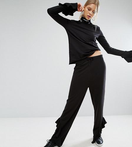 Широкие трикотажные брюки с рюшами внизу Daisy Street Tall - Черный